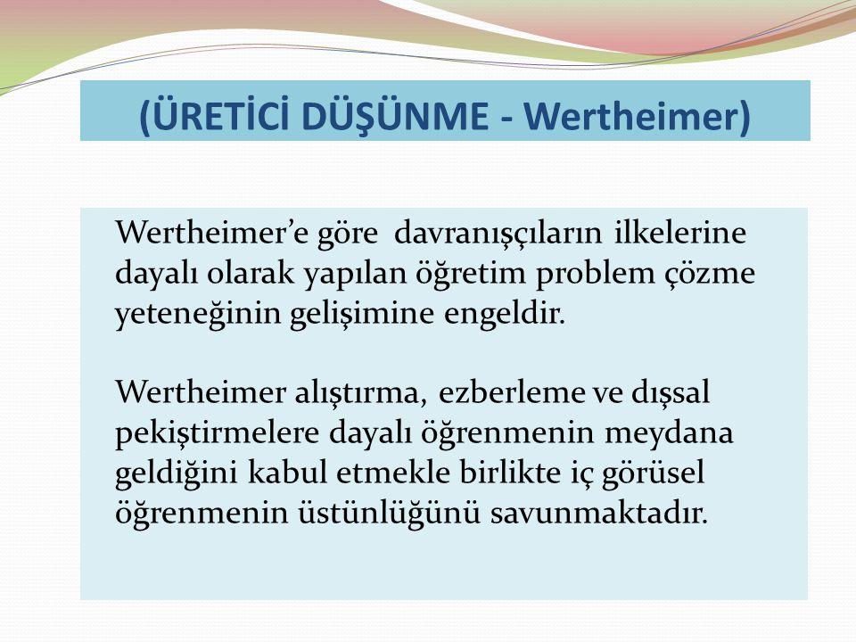 (ÜRETİCİ DÜŞÜNME - Wertheimer)