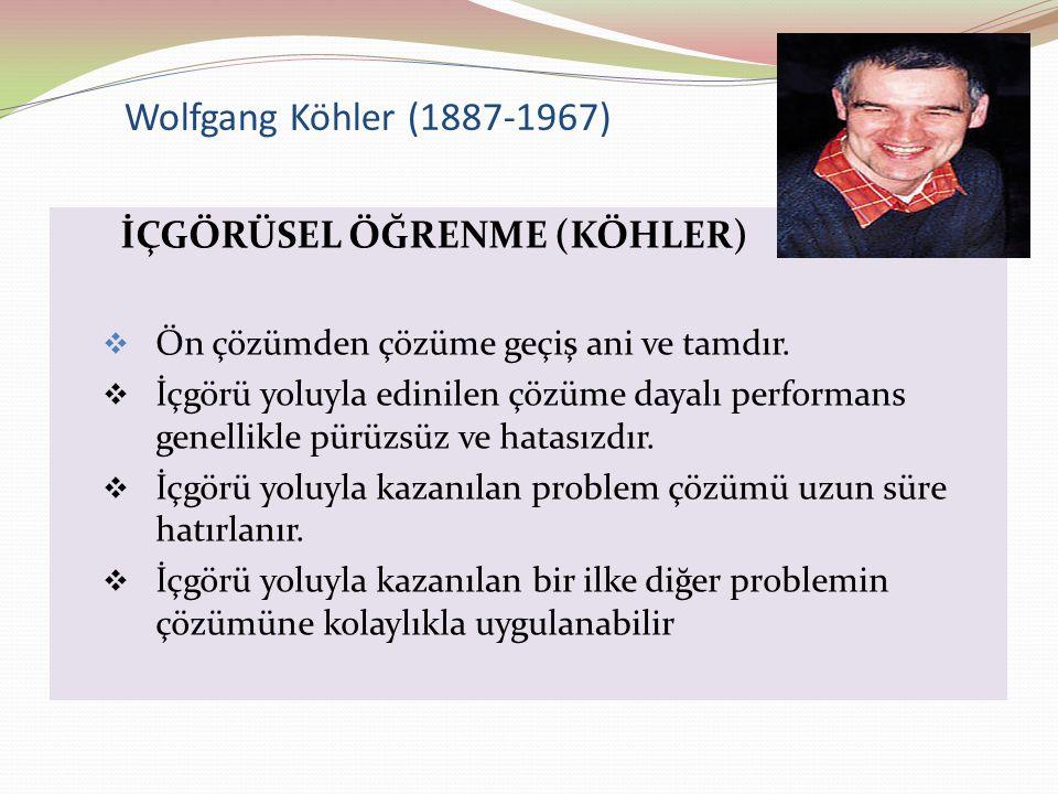 Wolfgang Köhler (1887-1967) İÇGÖRÜSEL ÖĞRENME (KÖHLER)