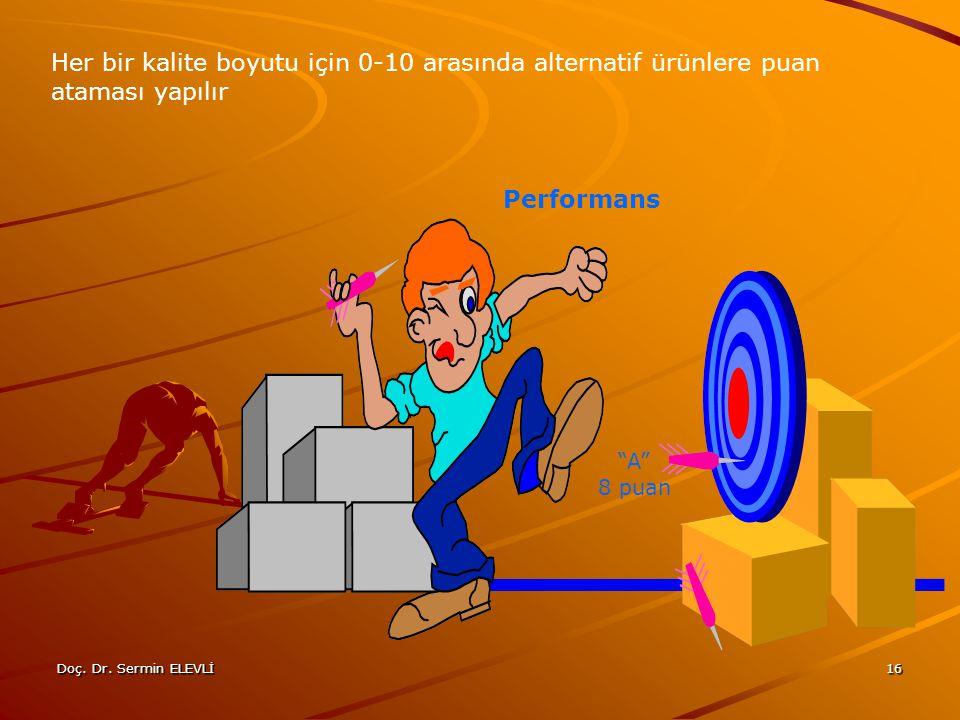 Her bir kalite boyutu için 0-10 arasında alternatif ürünlere puan ataması yapılır