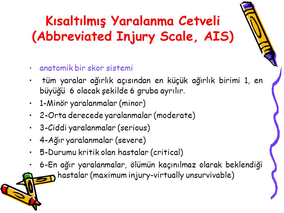 Kısaltılmış Yaralanma Cetveli (Abbreviated Injury Scale, AIS)