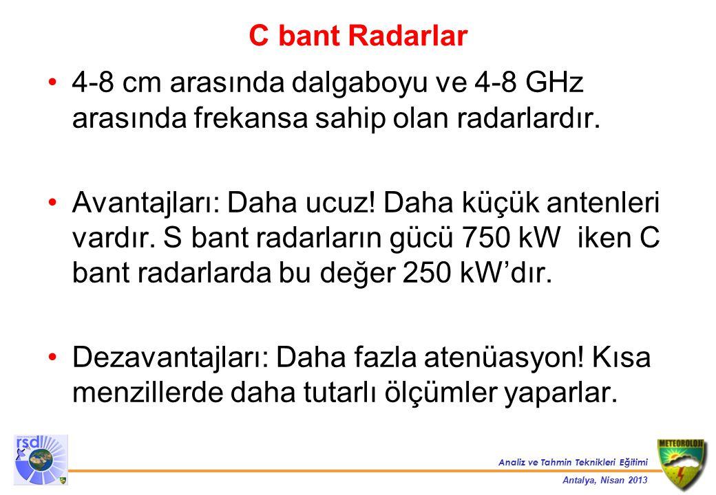 C bant Radarlar 4-8 cm arasında dalgaboyu ve 4-8 GHz arasında frekansa sahip olan radarlardır.