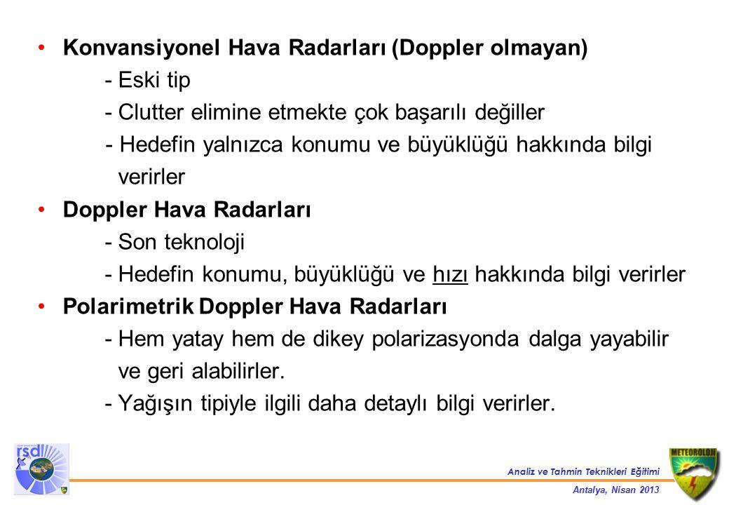 Konvansiyonel Hava Radarları (Doppler olmayan)