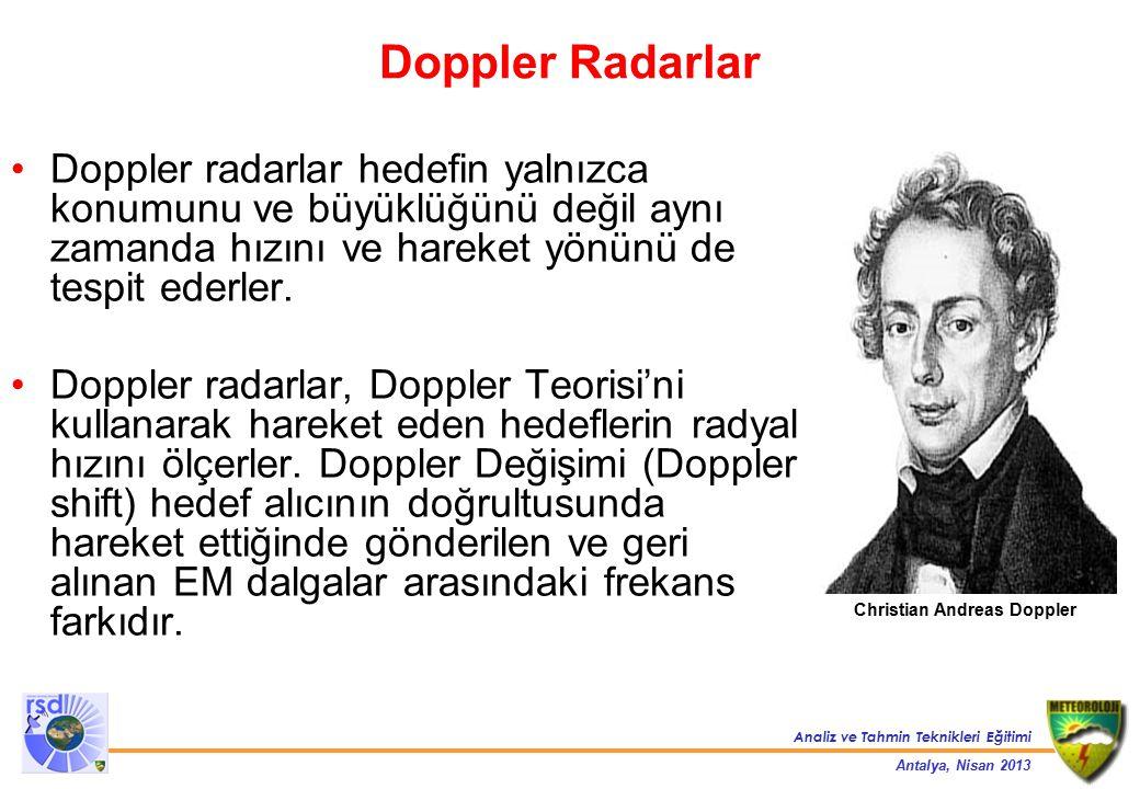 Doppler Radarlar Doppler radarlar hedefin yalnızca konumunu ve büyüklüğünü değil aynı zamanda hızını ve hareket yönünü de tespit ederler.