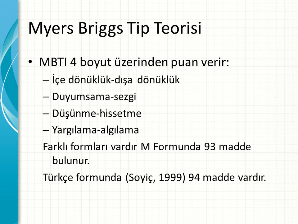 Myers Briggs Tip Teorisi