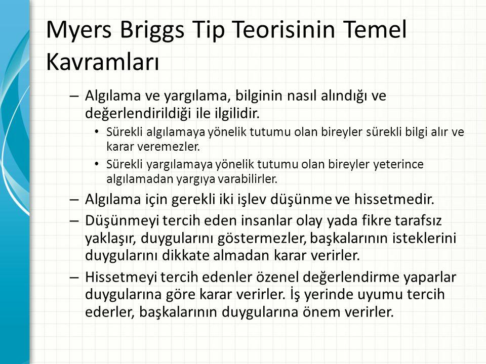 Myers Briggs Tip Teorisinin Temel Kavramları