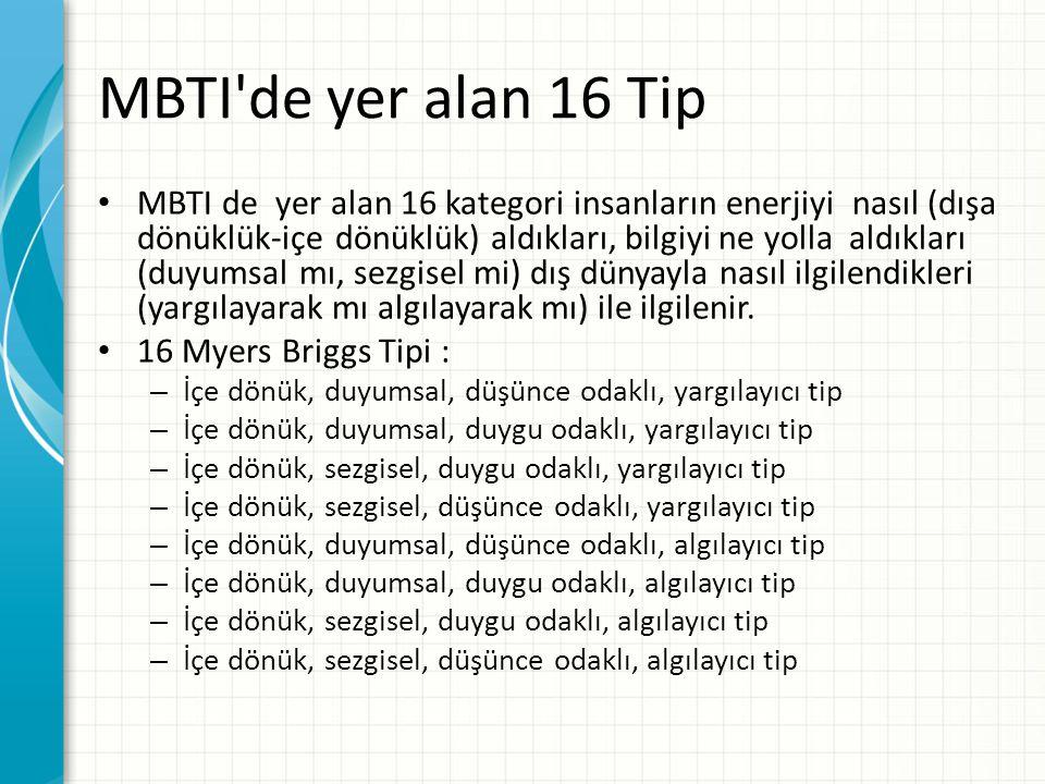 MBTI de yer alan 16 Tip