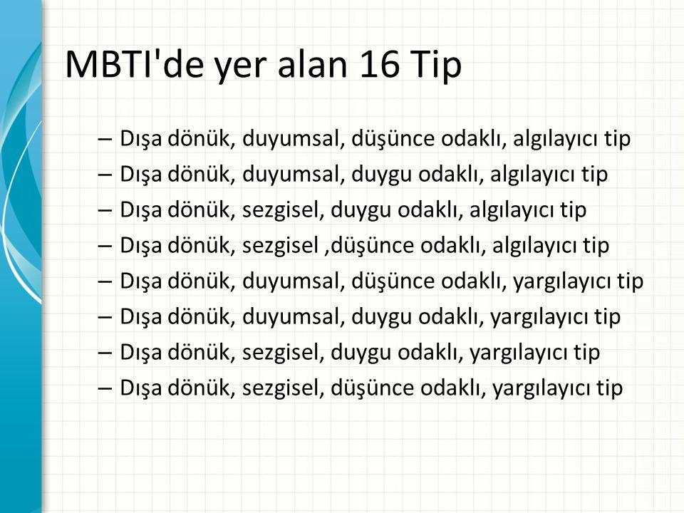 MBTI de yer alan 16 Tip Dışa dönük, duyumsal, düşünce odaklı, algılayıcı tip. Dışa dönük, duyumsal, duygu odaklı, algılayıcı tip.