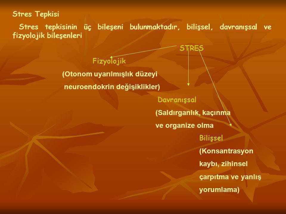 Stres Tepkisi Stres tepkisinin üç bileşeni bulunmaktadır, bilişsel, davranışsal ve fizyolojik bileşenleri.