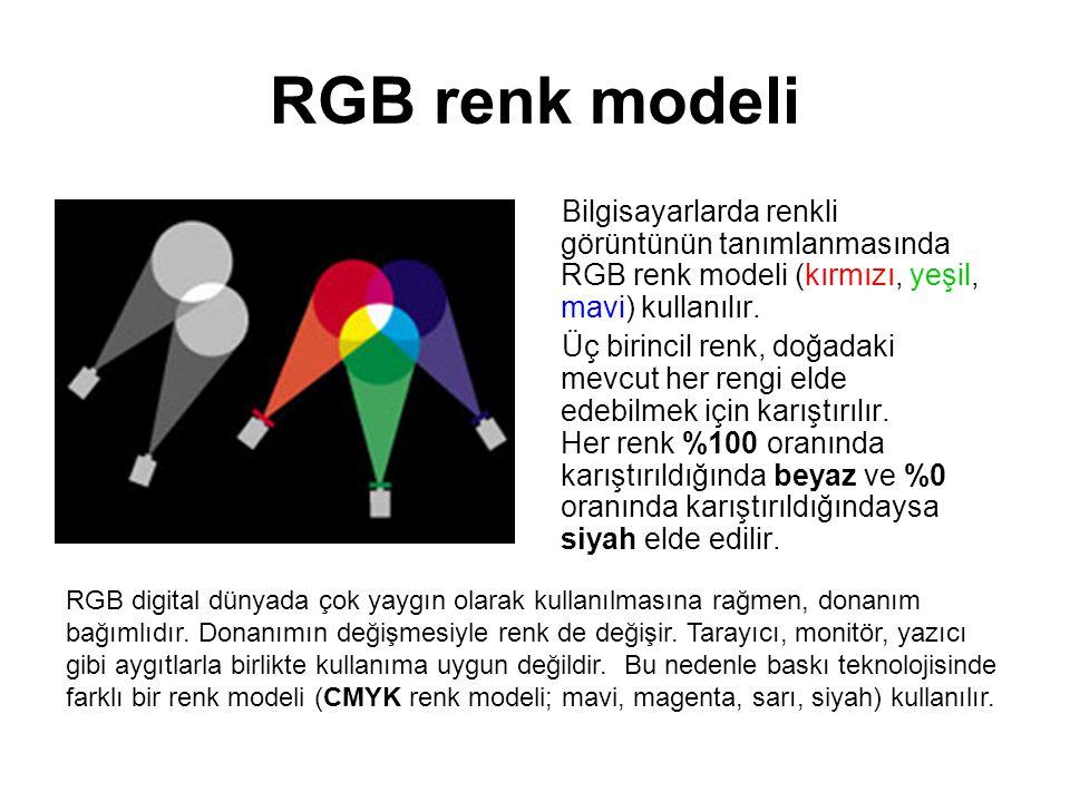 RGB renk modeli Bilgisayarlarda renkli görüntünün tanımlanmasında RGB renk modeli (kırmızı, yeşil, mavi) kullanılır.