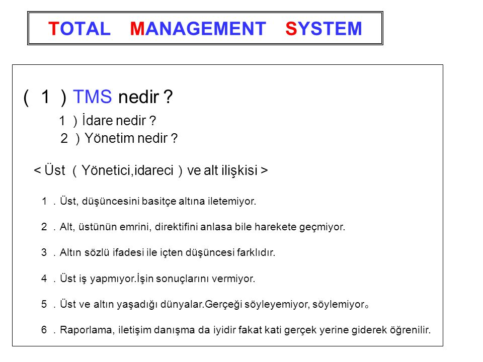 TOTAL MANAGEMENT SYSTEM