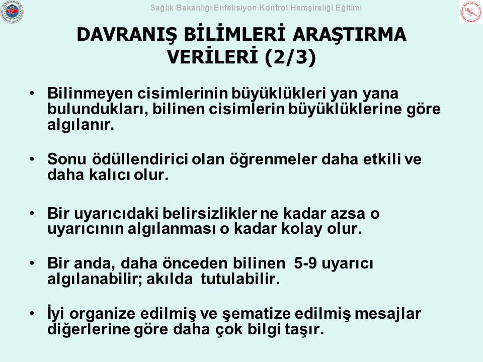 DAVRANIŞ BİLİMLERİ ARAŞTIRMA VERİLERİ (2/3)