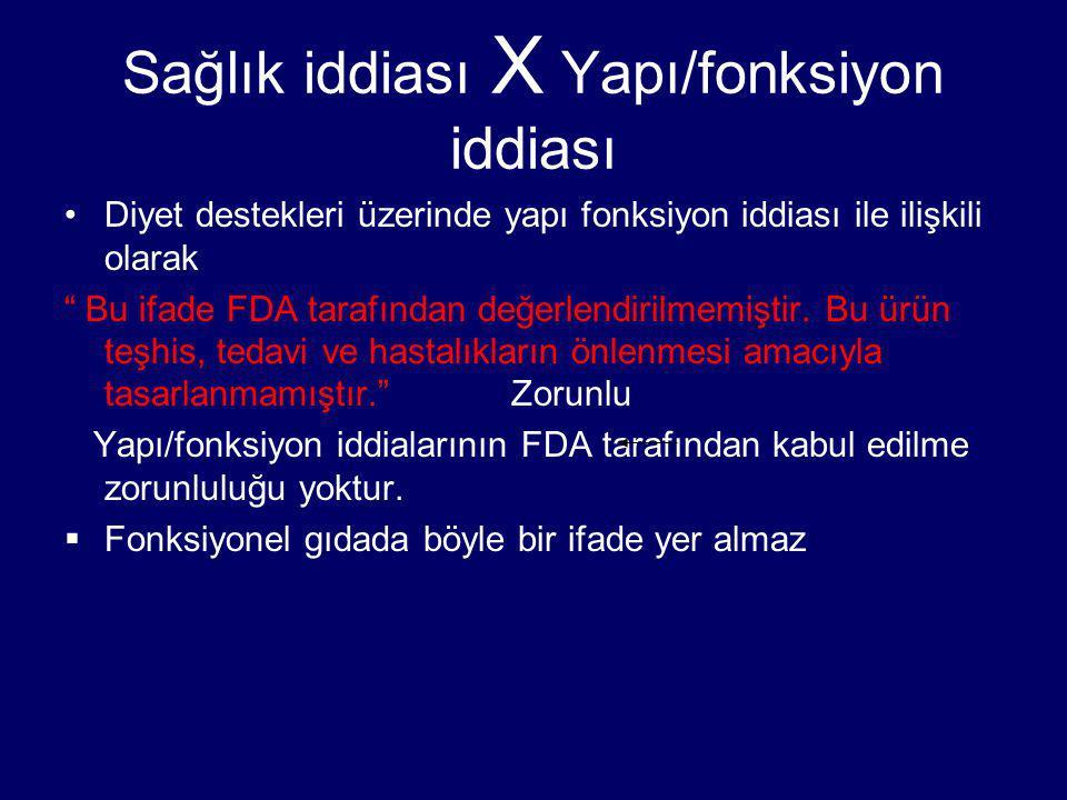 Sağlık iddiası X Yapı/fonksiyon iddiası