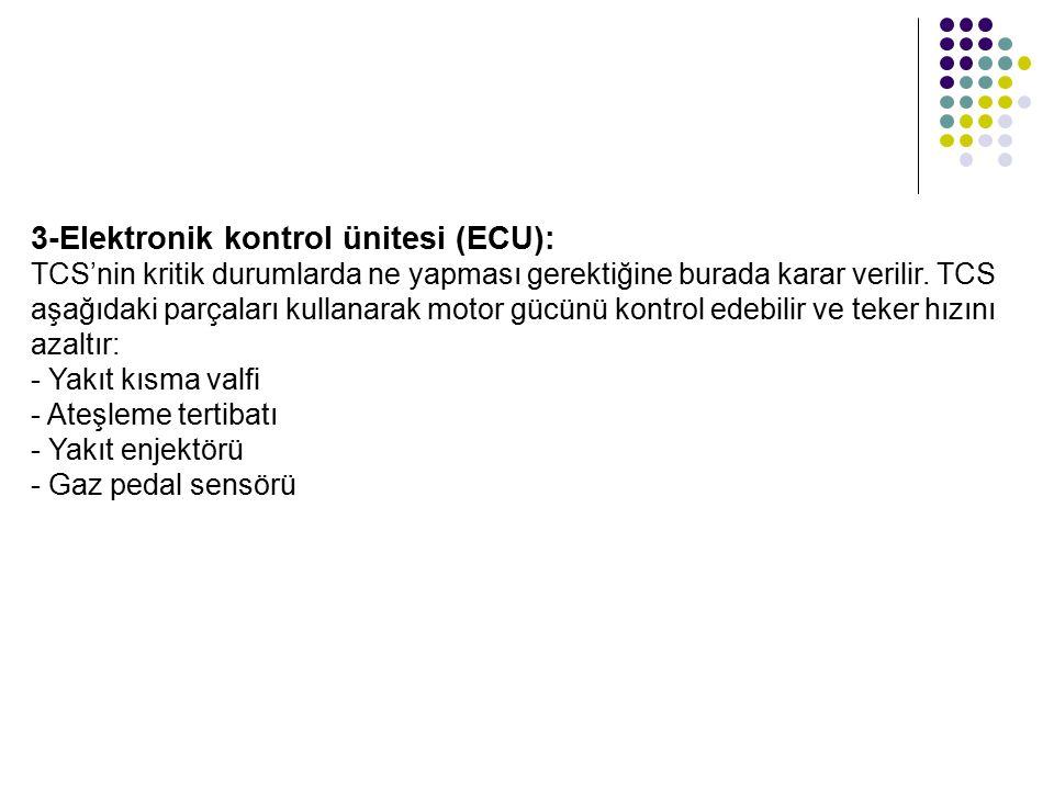 3-Elektronik kontrol ünitesi (ECU): TCS'nin kritik durumlarda ne yapması gerektiğine burada karar verilir.