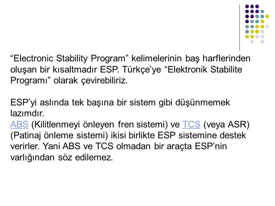 Electronic Stability Program kelimelerinin baş harflerinden oluşan bir kısaltmadır ESP. Türkçe'ye Elektronik Stabilite Programı olarak çevirebiliriz.
