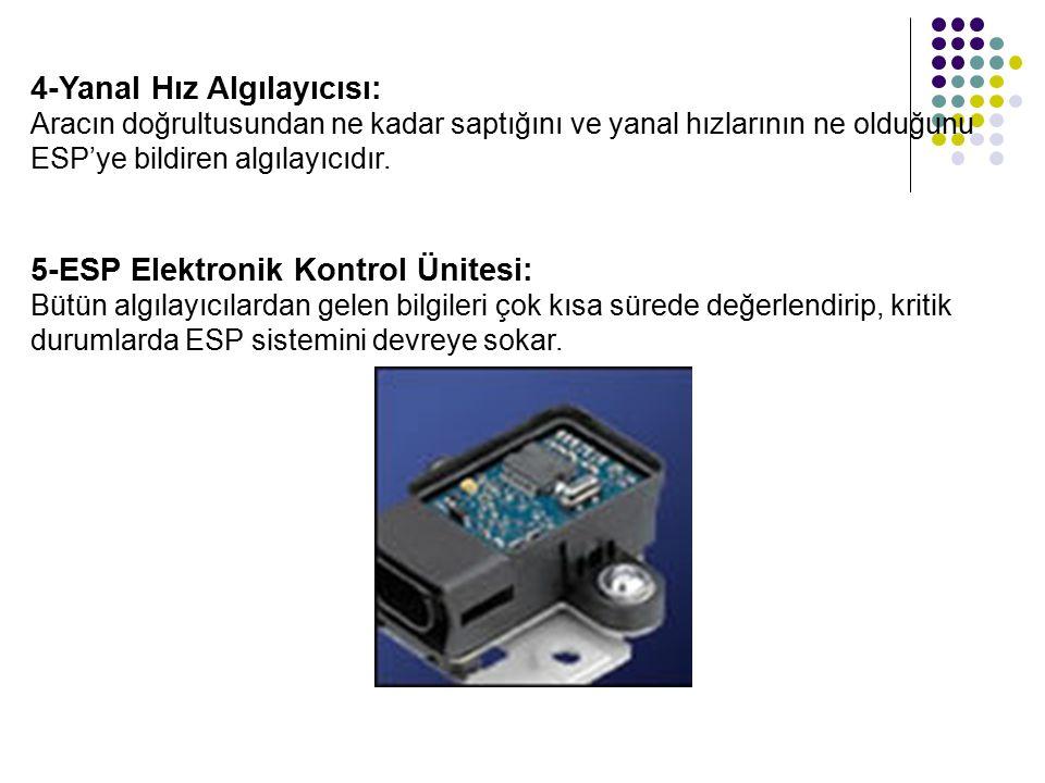 4-Yanal Hız Algılayıcısı: Aracın doğrultusundan ne kadar saptığını ve yanal hızlarının ne olduğunu ESP'ye bildiren algılayıcıdır.