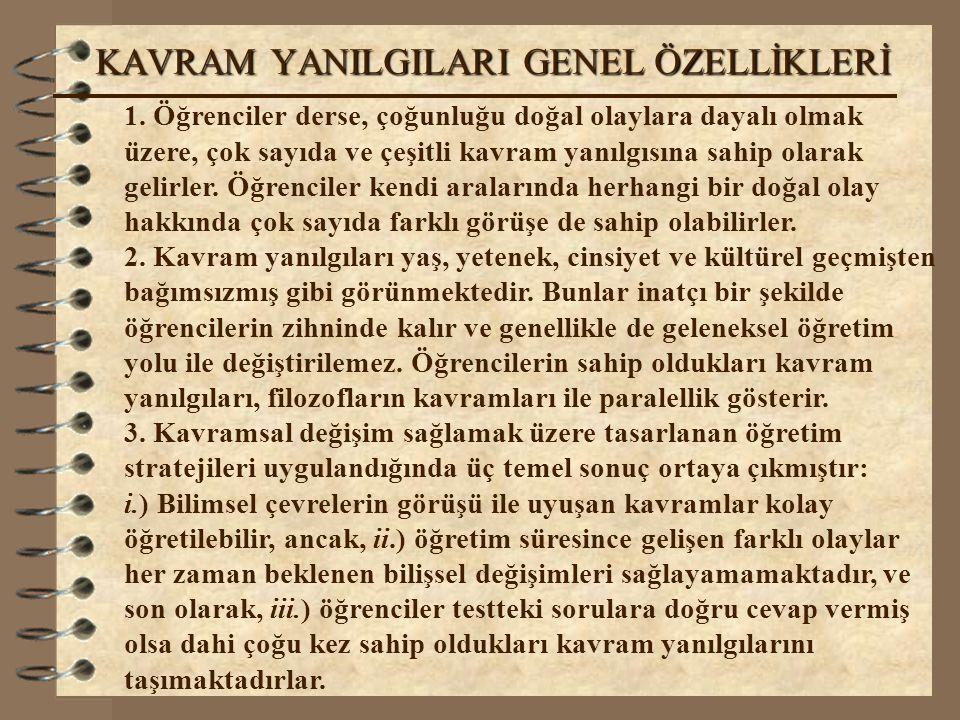 KAVRAM YANILGILARI GENEL ÖZELLİKLERİ