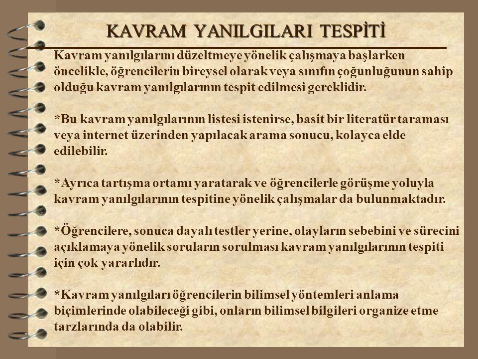 KAVRAM YANILGILARI TESPİTİ
