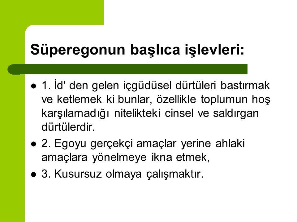 Süperegonun başlıca işlevleri: