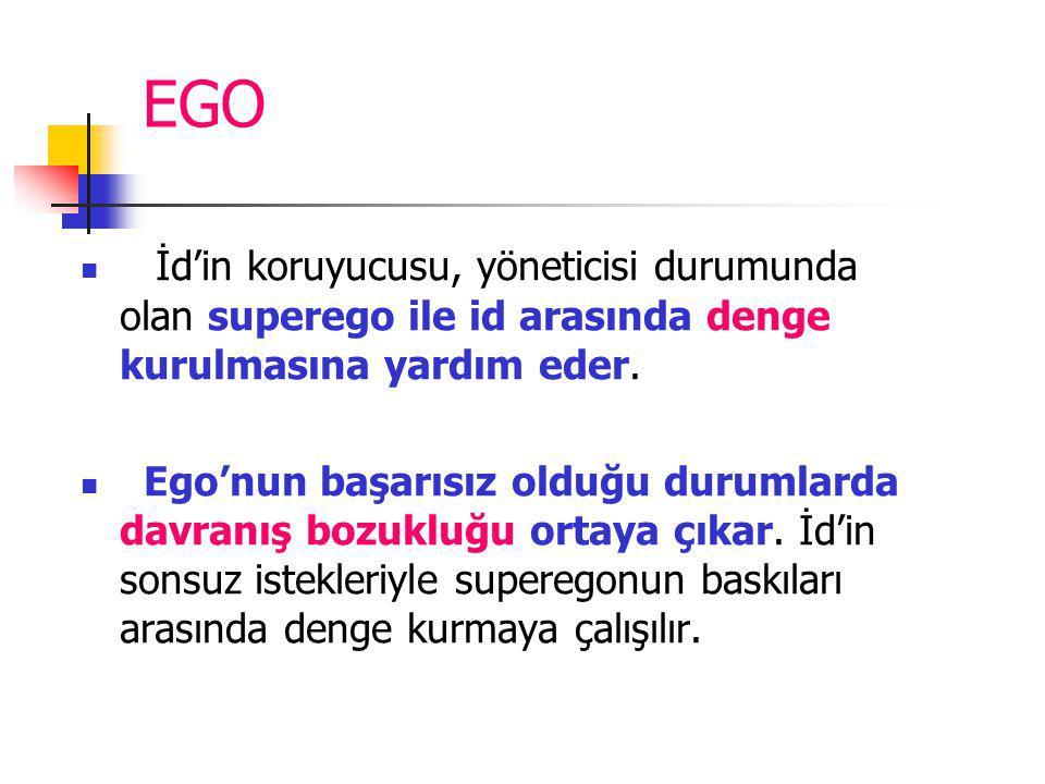 EGO İd'in koruyucusu, yöneticisi durumunda olan superego ile id arasında denge kurulmasına yardım eder.
