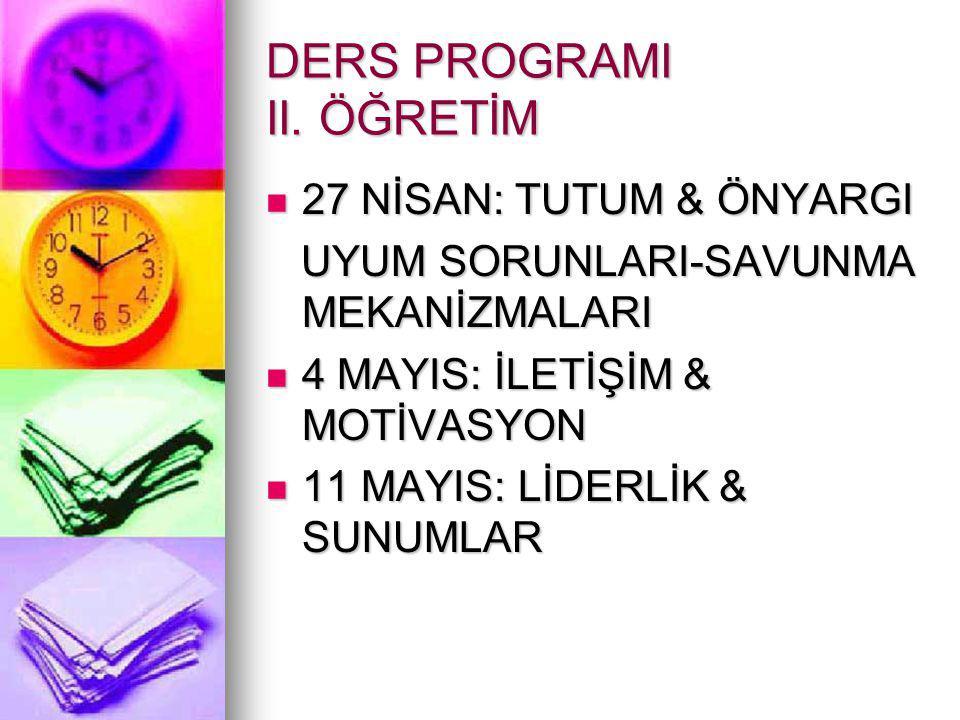 DERS PROGRAMI II. ÖĞRETİM