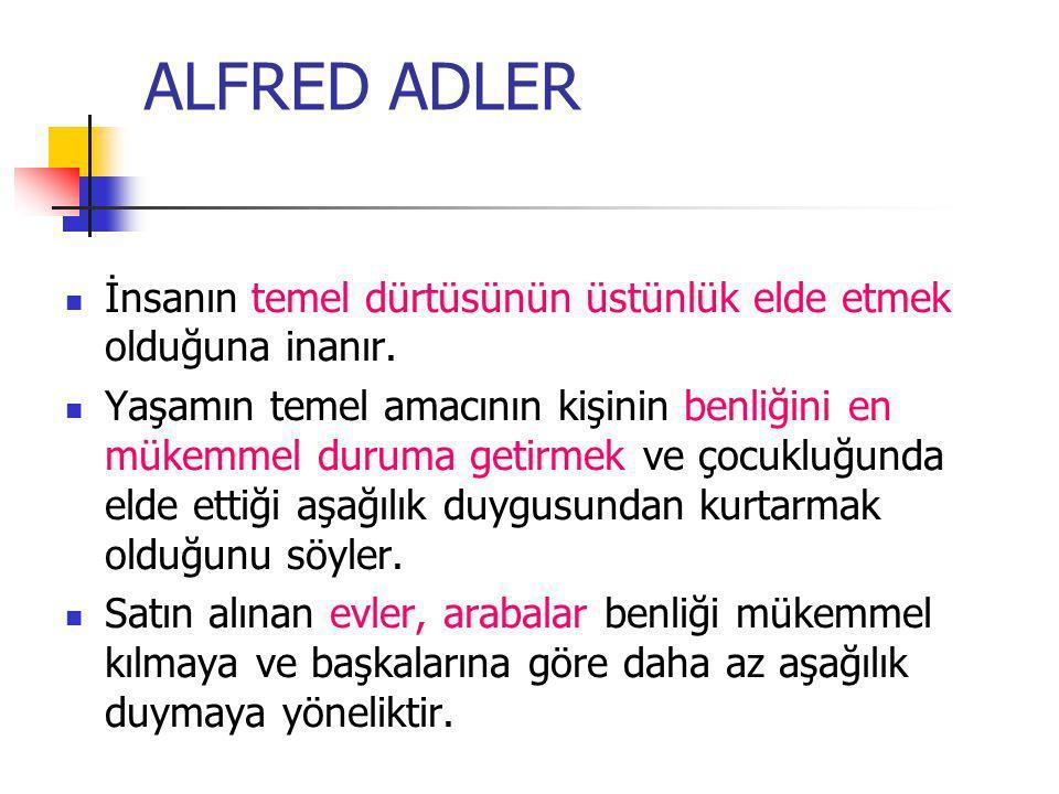 ALFRED ADLER İnsanın temel dürtüsünün üstünlük elde etmek olduğuna inanır.