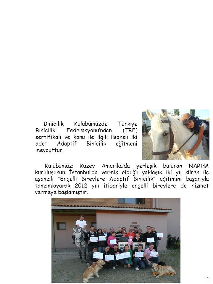 Binicilik Kulübümüzde Türkiye Binicilik Federasyonu'ndan (TBF) sertifikalı ve konu ile ilgili lisanslı iki adet Adaptif Binicilik eğitmeni mevcuttur.