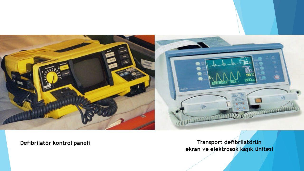 Transport defibrilatörün ekran ve elektroşok kaşık ünitesi