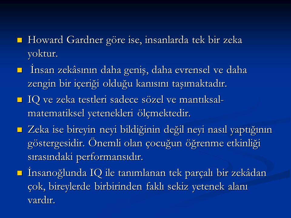 Howard Gardner göre ise, insanlarda tek bir zeka yoktur.