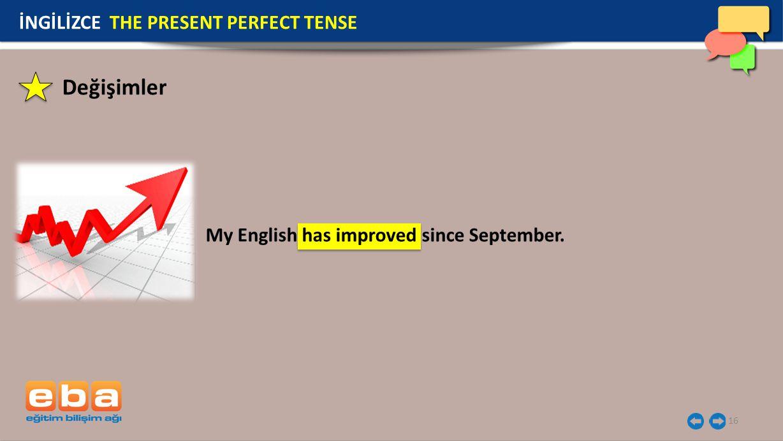 Değişimler İNGİLİZCE THE PRESENT PERFECT TENSE
