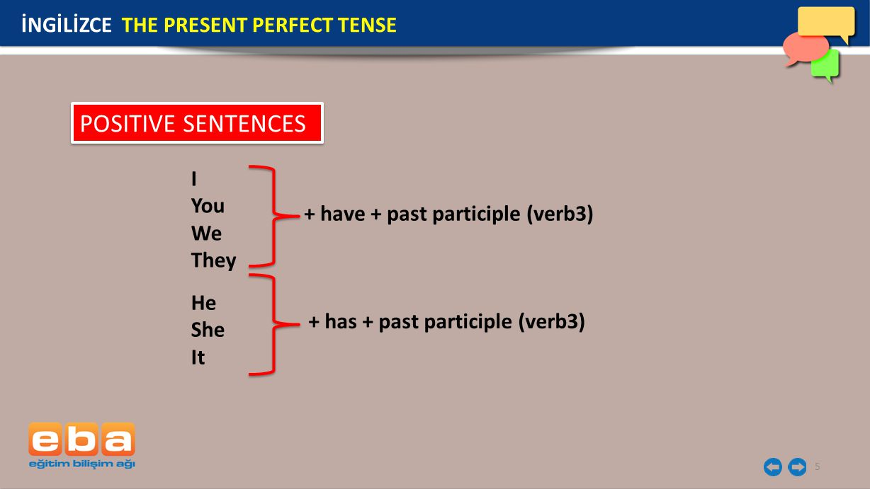 POSITIVE SENTENCES İNGİLİZCE THE PRESENT PERFECT TENSE I You We