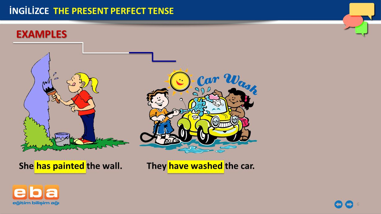 EXAMPLES İNGİLİZCE THE PRESENT PERFECT TENSE She has painted the wall.