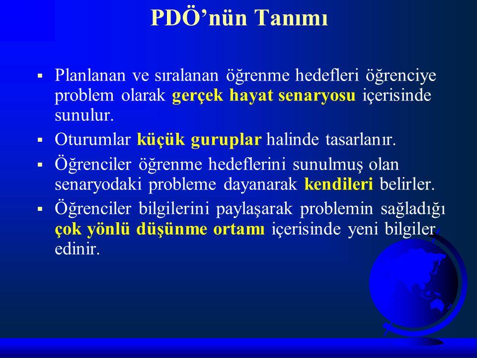 PDÖ'nün Tanımı Planlanan ve sıralanan öğrenme hedefleri öğrenciye problem olarak gerçek hayat senaryosu içerisinde sunulur.