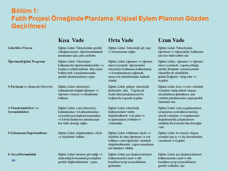 Bölüm 1: Fatih Projesi Örneğinde Planlama: Kişisel Eylem Planının Gözden Geçirilmesi