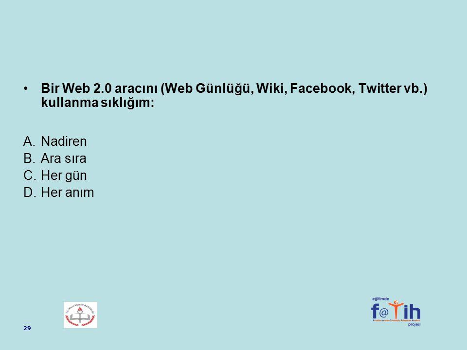 Bir Web 2. 0 aracını (Web Günlüğü, Wiki, Facebook, Twitter vb