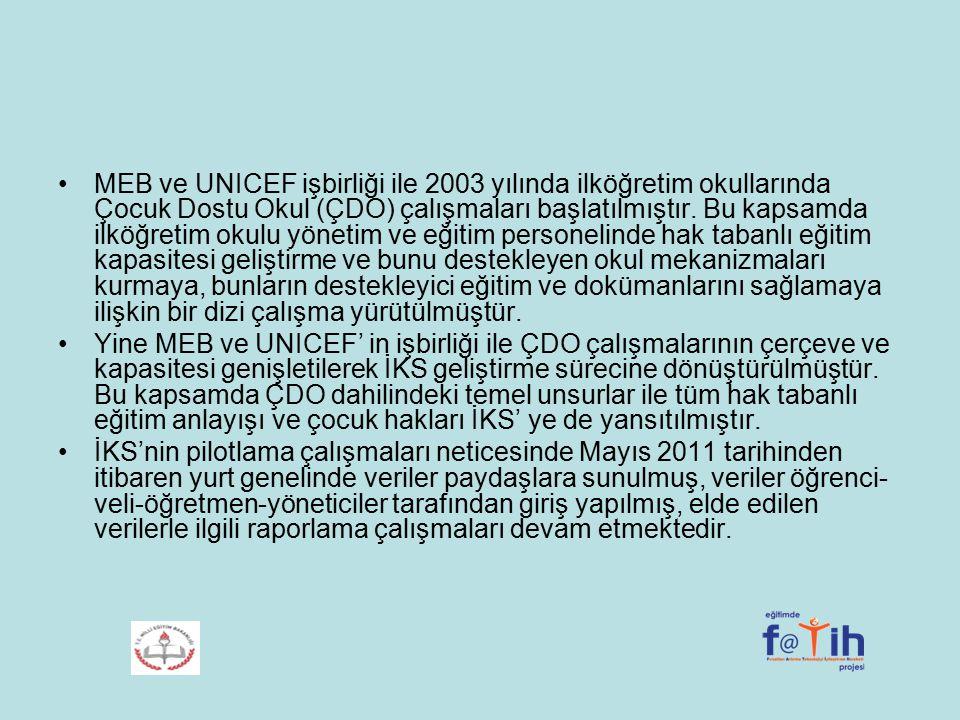 MEB ve UNICEF işbirliği ile 2003 yılında ilköğretim okullarında Çocuk Dostu Okul (ÇDO) çalışmaları başlatılmıştır. Bu kapsamda ilköğretim okulu yönetim ve eğitim personelinde hak tabanlı eğitim kapasitesi geliştirme ve bunu destekleyen okul mekanizmaları kurmaya, bunların destekleyici eğitim ve dokümanlarını sağlamaya ilişkin bir dizi çalışma yürütülmüştür.