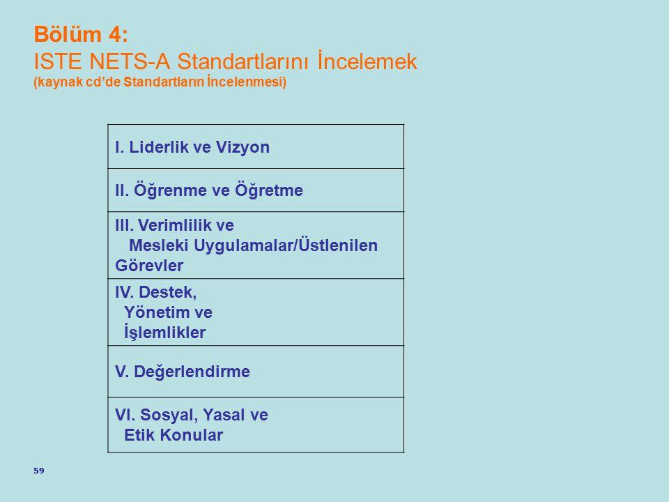 Bölüm 4: ISTE NETS-A Standartlarını İncelemek (kaynak cd'de Standartların İncelenmesi)