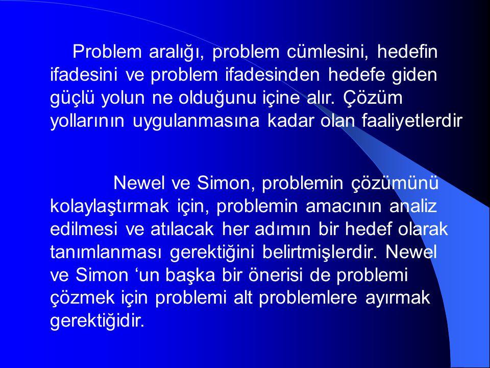 Problem aralığı, problem cümlesini, hedefin ifadesini ve problem ifadesinden hedefe giden güçlü yolun ne olduğunu içine alır. Çözüm yollarının uygulanmasına kadar olan faaliyetlerdir