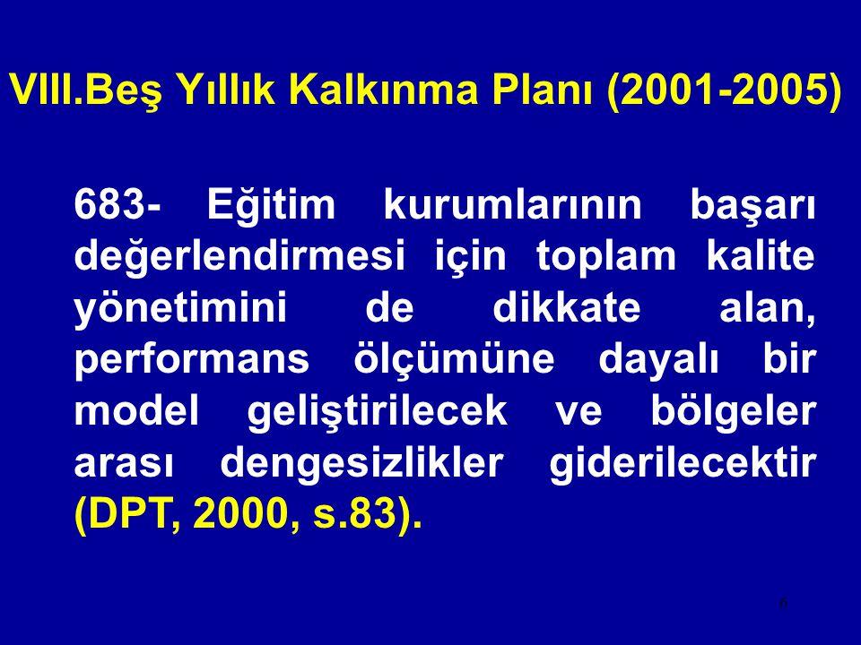 VIII.Beş Yıllık Kalkınma Planı (2001-2005)
