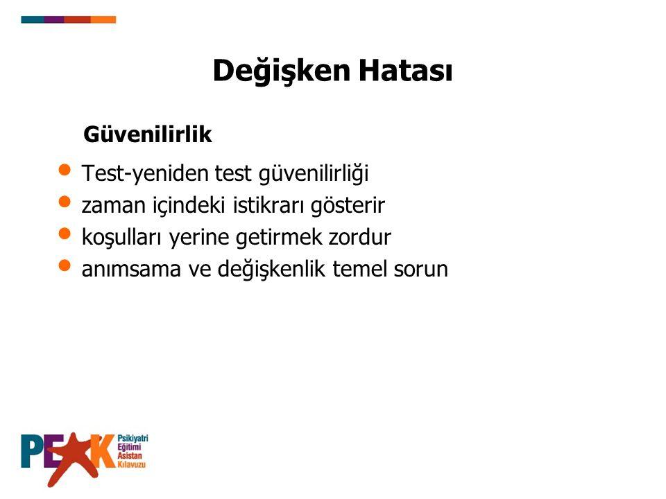 Değişken Hatası Güvenilirlik Test-yeniden test güvenilirliği