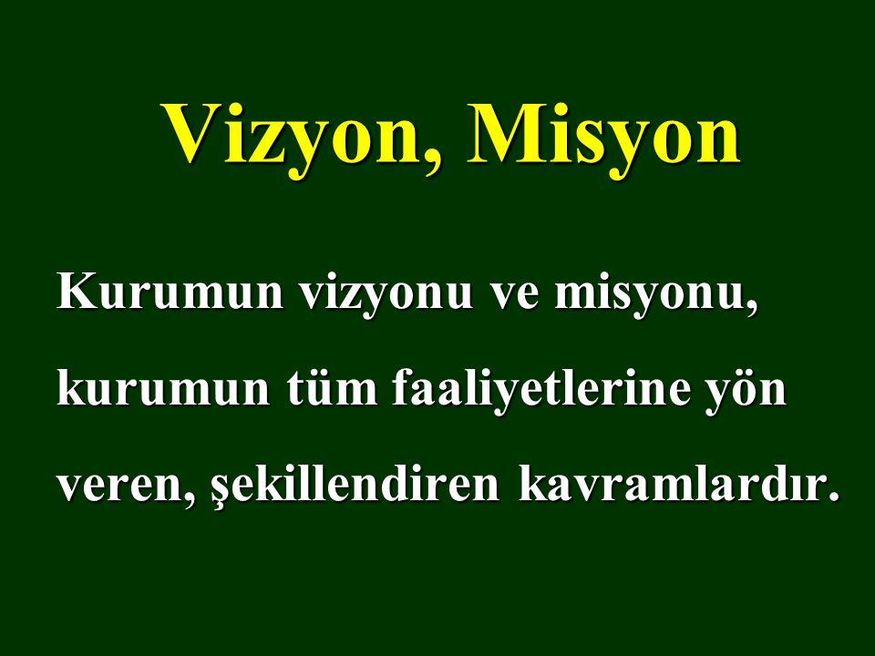 Vizyon, Misyon Kurumun vizyonu ve misyonu, kurumun tüm faaliyetlerine yön veren, şekillendiren kavramlardır.