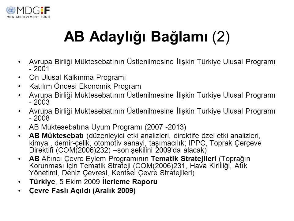 AB Adaylığı Bağlamı (2) Avrupa Birliği Müktesebatının Üstlenilmesine İlişkin Türkiye Ulusal Programı - 2001.
