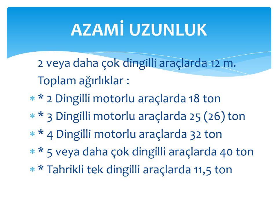 AZAMİ UZUNLUK Toplam ağırlıklar :