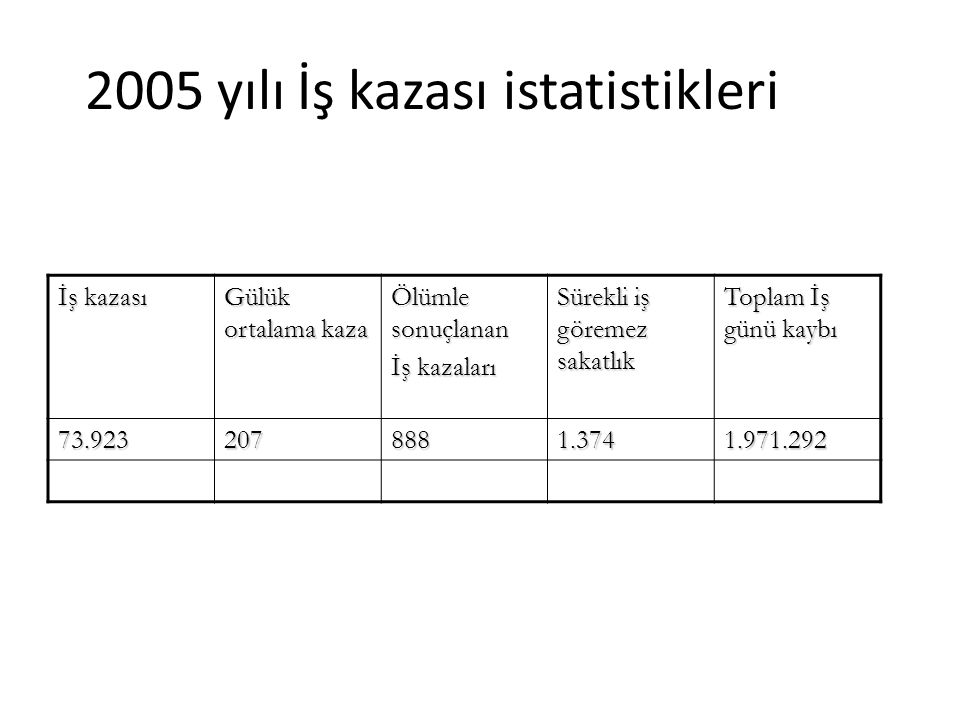 2005 yılı İş kazası istatistikleri