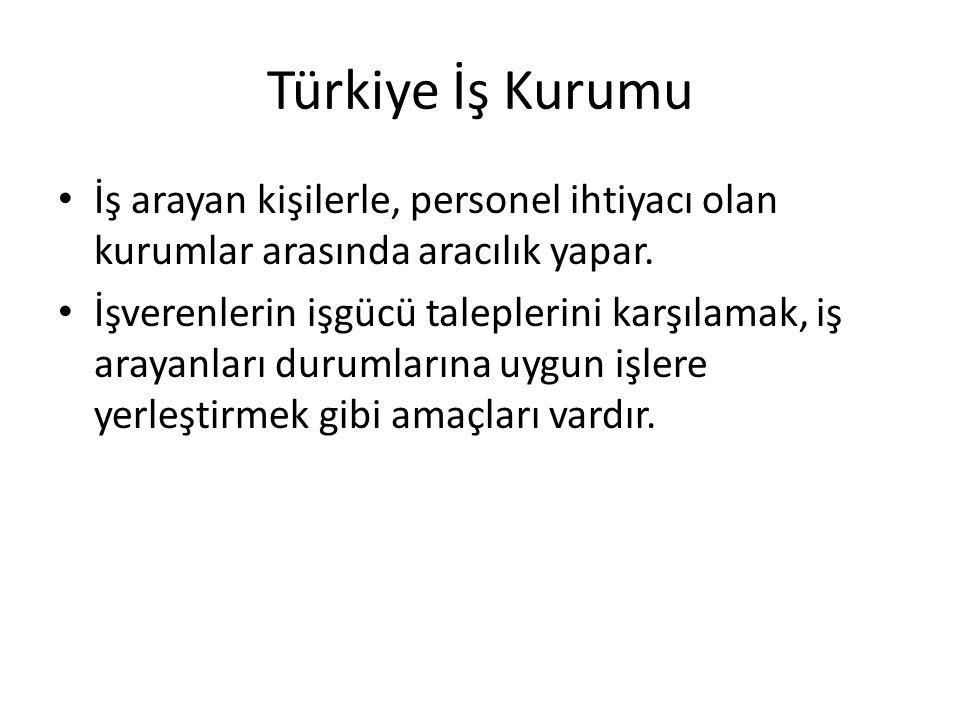 Türkiye İş Kurumu İş arayan kişilerle, personel ihtiyacı olan kurumlar arasında aracılık yapar.