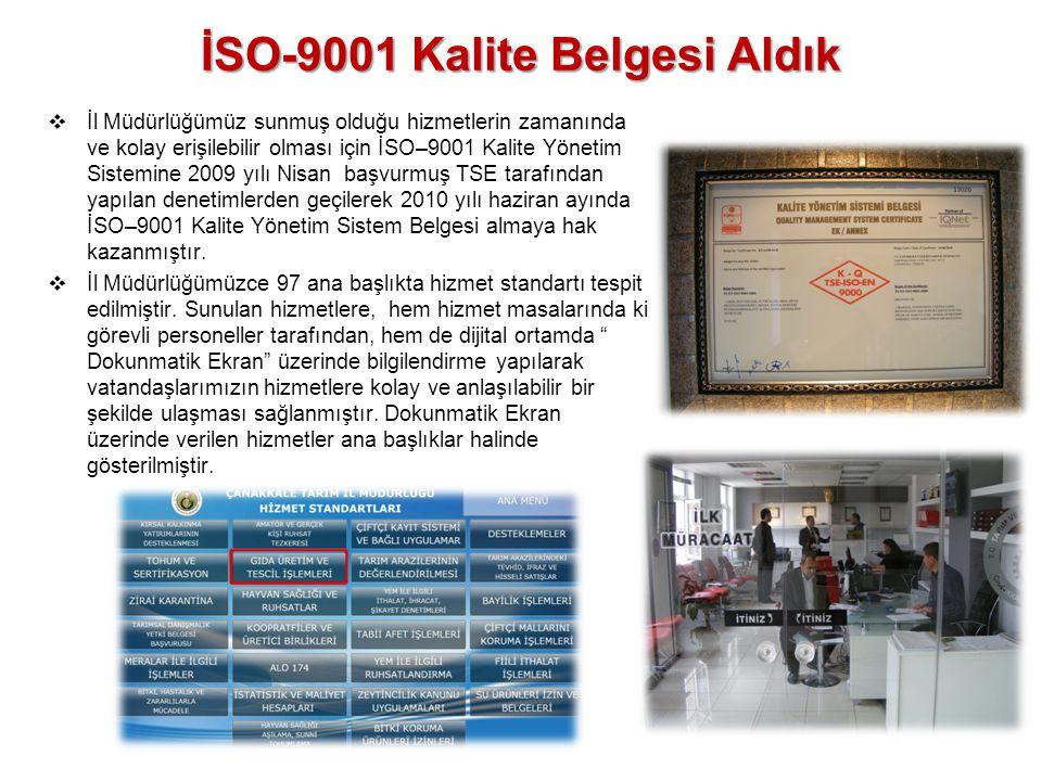 İSO-9001 Kalite Belgesi Aldık