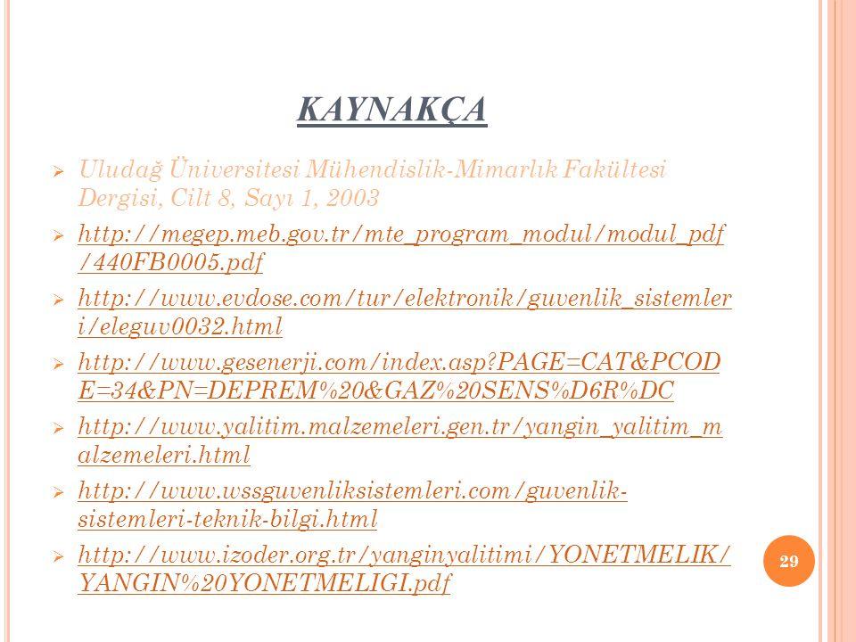 KAYNAKÇA Uludağ Üniversitesi Mühendislik-Mimarlık Fakültesi Dergisi, Cilt 8, Sayı 1, 2003.