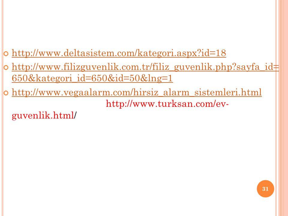 http://www.deltasistem.com/kategori.aspx id=18 http://www.filizguvenlik.com.tr/filiz_guvenlik.php sayfa_id= 650&kategori_id=650&id=50&lng=1.