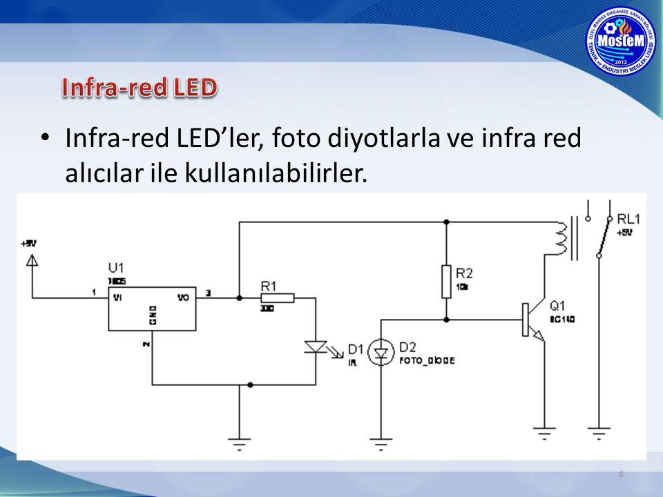 Infra-red LED Infra-red LED'ler, foto diyotlarla ve infra red alıcılar ile kullanılabilirler.