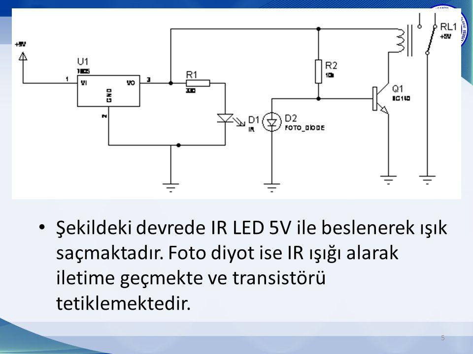 Şekildeki devrede IR LED 5V ile beslenerek ışık saçmaktadır