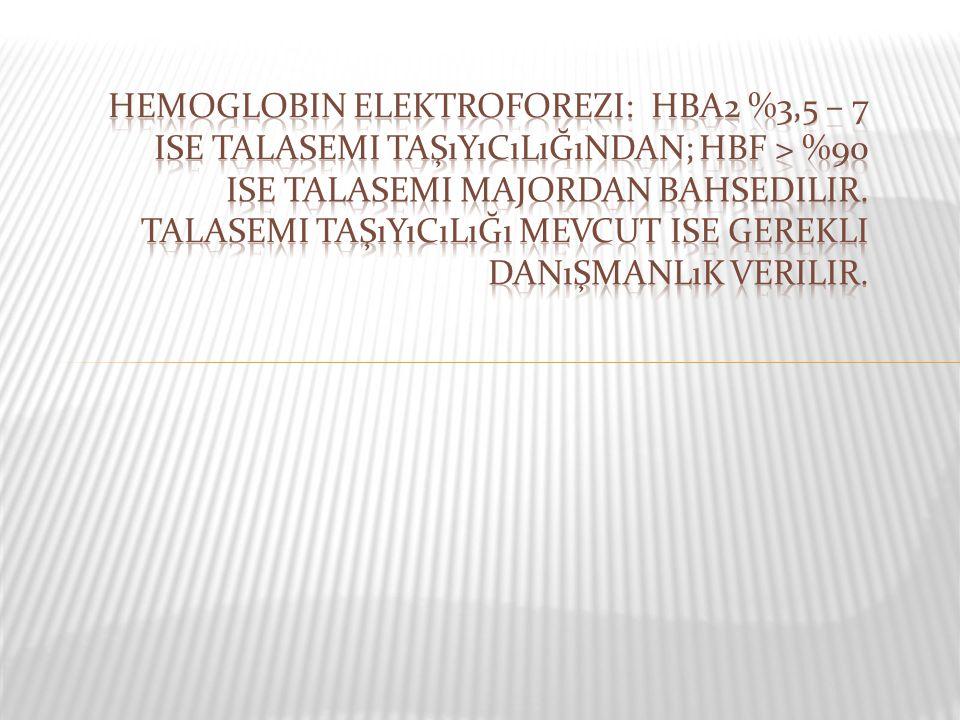 Hemoglobin elektroforezi: HbA2 %3,5 – 7 ise talasemi taşıyıcılığından; HbF > %90 ise talasemi majordan bahsedilir.